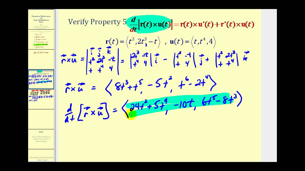 1280x720 The Derivative Of The Cross Product Of Two Vector Valued Functions