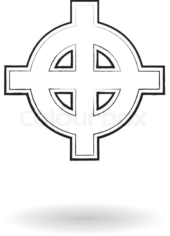 577x800 Celtic Cross Sketch Vector Illustration, Cross Silhouette Isolated