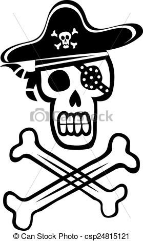 279x470 Pirate Skull And Crossbones. Vector Cartoon Pirate Skull With