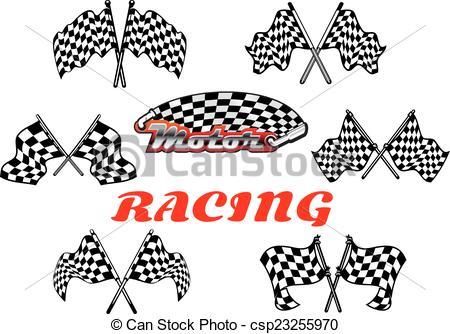 450x334 Black And White Heraldic Checkered Racing Flags. Heraldic Vector