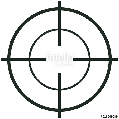 500x500 Crosshair Icon. Flat Illustration Of Crosshair Vector Icon For Web