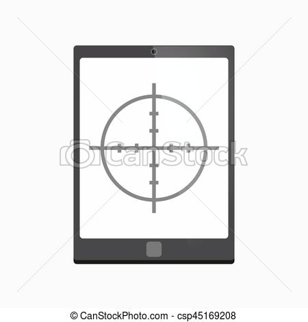 450x470 Isolated Tablet Pc With A Crosshair. Illustration Of An Isolated