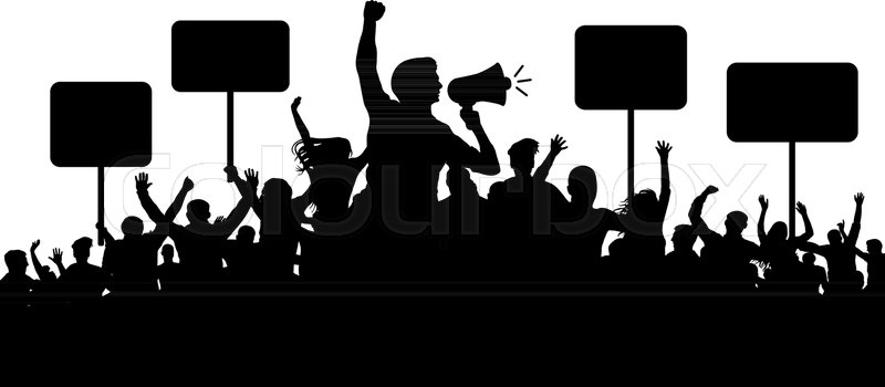 800x350 Crowd Of People Silhouette Vector. Transparent, Protest Slogans