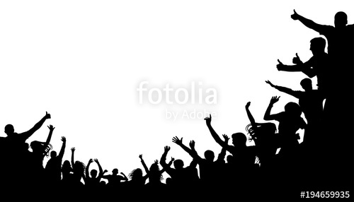 500x286 Crowd People, Fan Cheering. Illustration Soccer Background, Vector