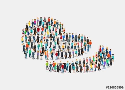 500x362 Flat Isometric Crowd Of People Vector. 3d Love. Stock Image And
