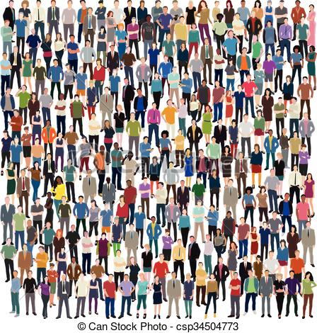 448x470 Huge Crowd Of People. Vector Background With Huge Crowd Of
