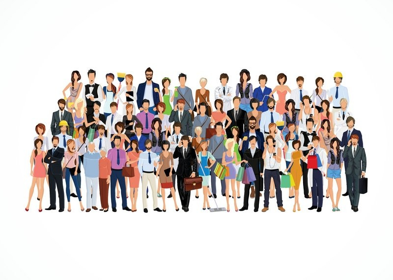 800x569 Large Group Crowd Of People Adult Professionals Poster Vector
