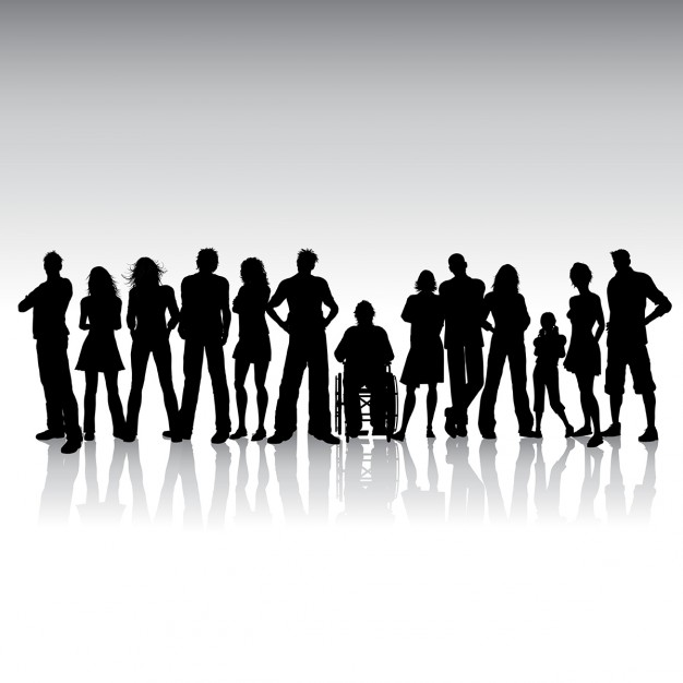626x626 Silhoeutte Of A Huge Crowd Of People Vector Free Download