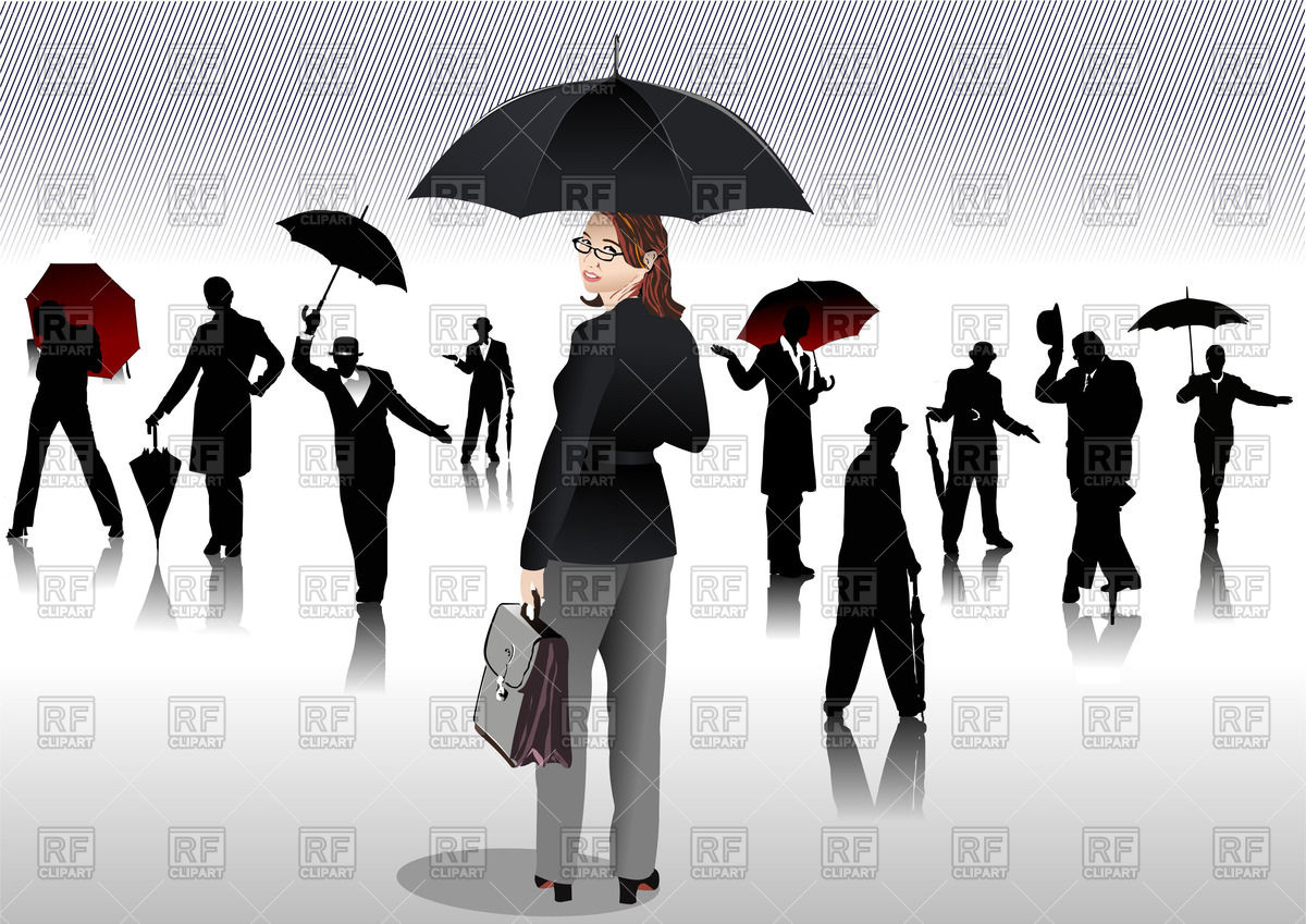1200x849 Silhouettes Of Men And Women With Umbrellas