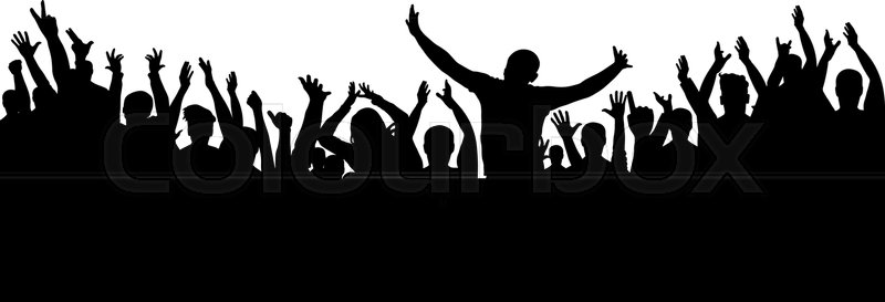 800x273 Applause Crowd Silhouette, Cheerful People Stock Vector Colourbox