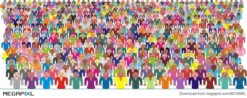 800x319 Colorful Crowd Of People Vector Illustration 8074880