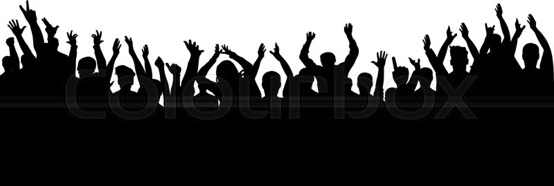 800x269 Applause Crowd Silhouette, Cheerful People. Concert, Party Stock