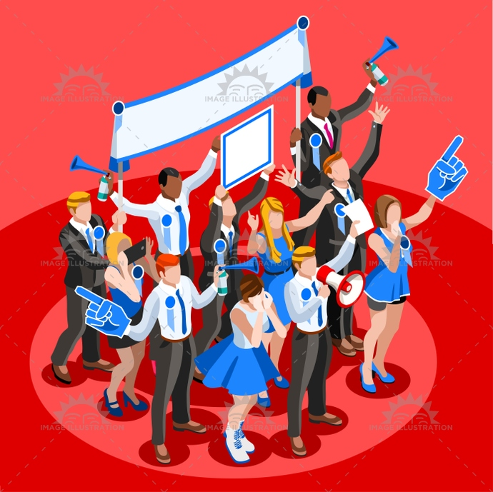 690x689 Election Infographic Cheering Crowd Vector Isometric People