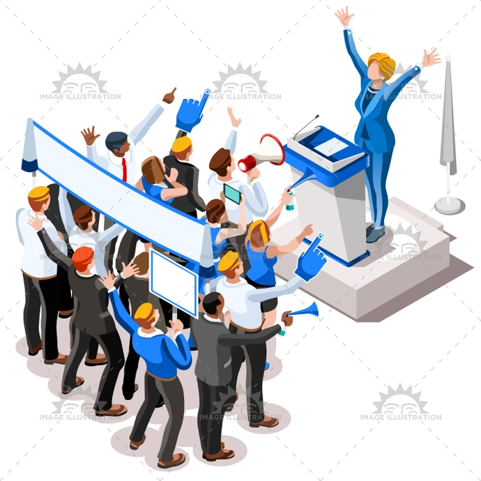 690x690 Election Infographic Convention Crowd Vector Isometric People