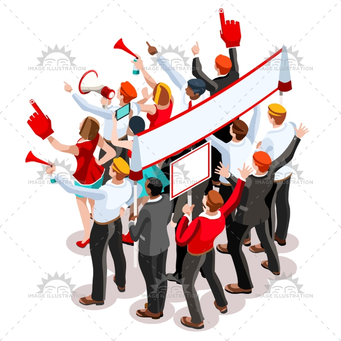 690x690 Election Infographic Theatre Crowd Vector Isometric People