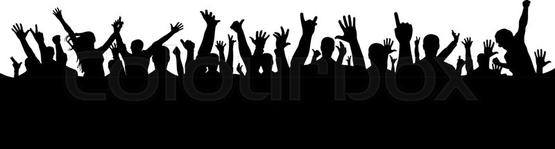 800x215 Hand Crowd Silhouette Stock Vector Colourbox