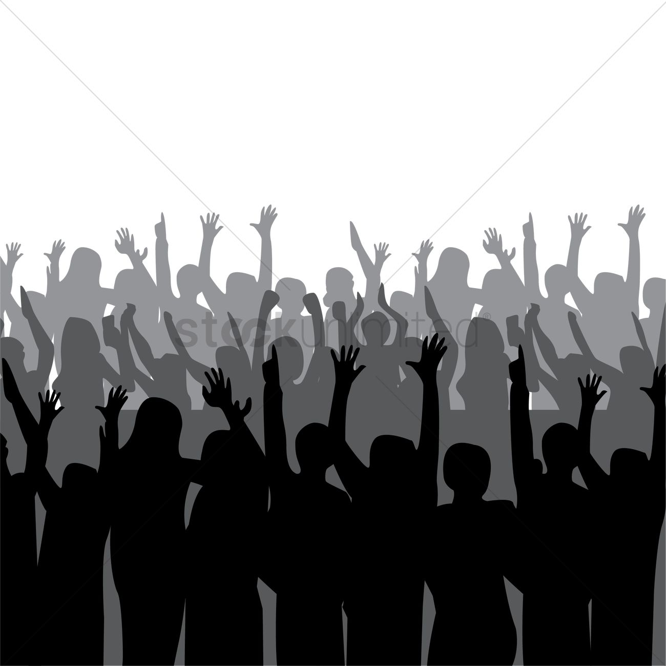 1300x1299 Silhouette Of Crowd Cheering Vector Image