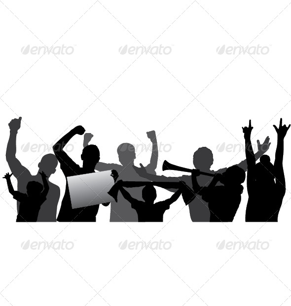 590x621 Sports Fans, Cheering Crowd Vector Silhouettes. By Only4denn