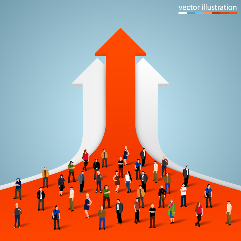 800x800 Arrow And Crowd Vector Free Vector Graphic Download
