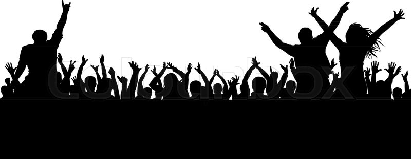 800x311 Cheerful Crowd Silhouette. Party People, Applaud. Fans Dance