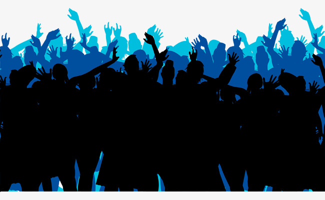 650x400 Cheering Crowd Vector Material, Cheering Crowd, Crowd, Silhouette