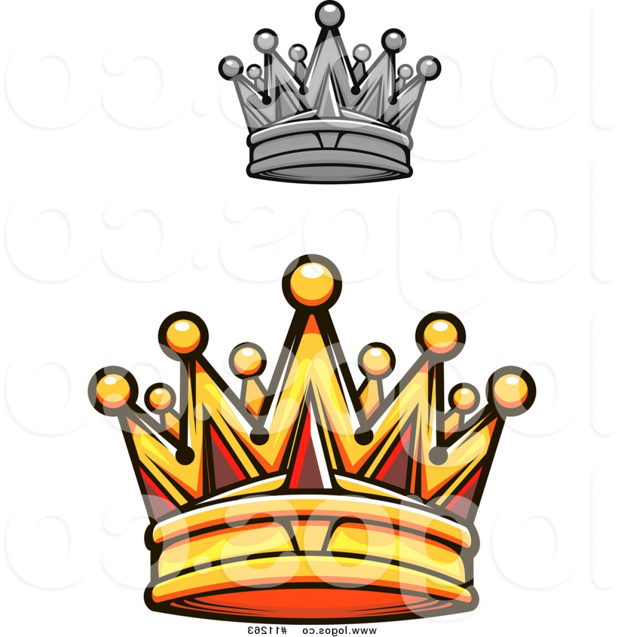 1228x1252 Royalty Free Vector Logo Of A Gold Royal Crown With Red Gems