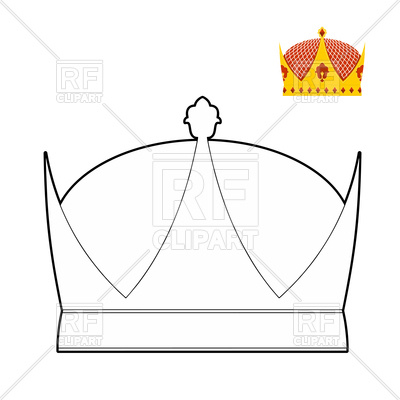 400x400 Coloring Book With Crown, Royal Crown Outline Vector Image