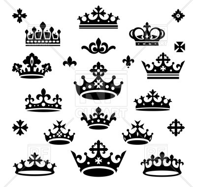 400x380 Silhouettes Of Queen And Royal Crown Vector Image Vector Artwork