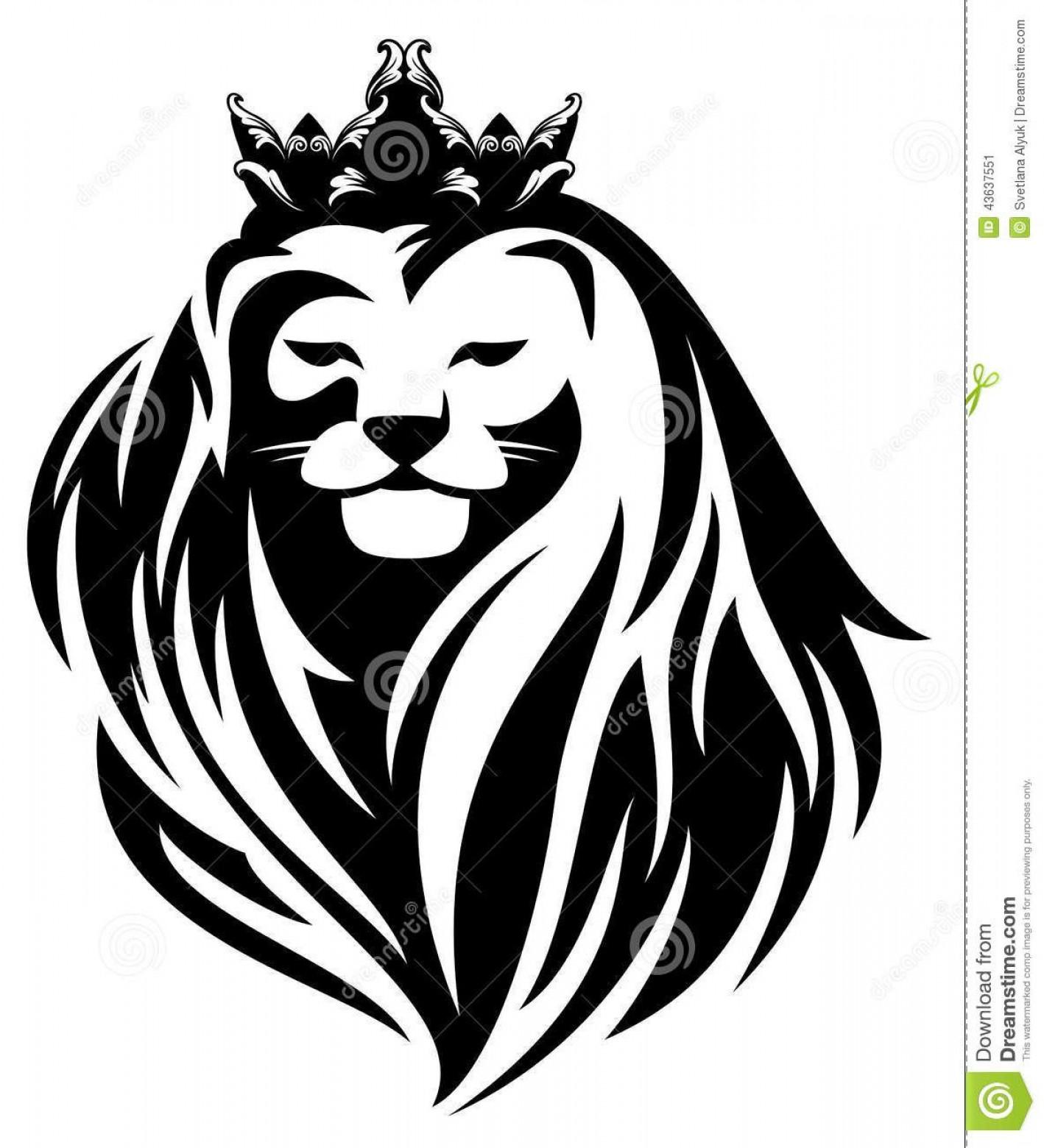 1418x1560 Top Royal Lion Crown Animal King Head Long Mane Black White Vector