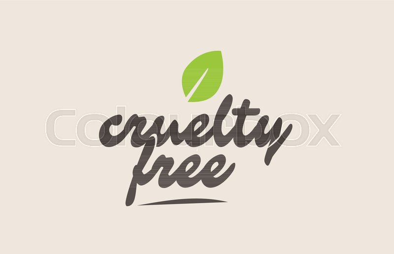 800x515 Cruelty Free Word Or Text With Green Leaf. Handwritten Lettering