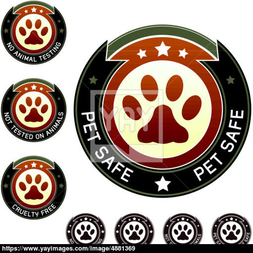 511x512 Pet Safe, Cruelty Free, And No Animal Testing Labels Vector