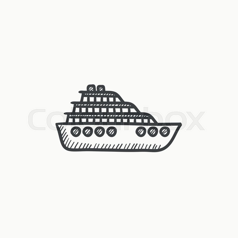 800x800 Cruise Ship Vector Sketch Icon Isolated On Background. Hand Drawn