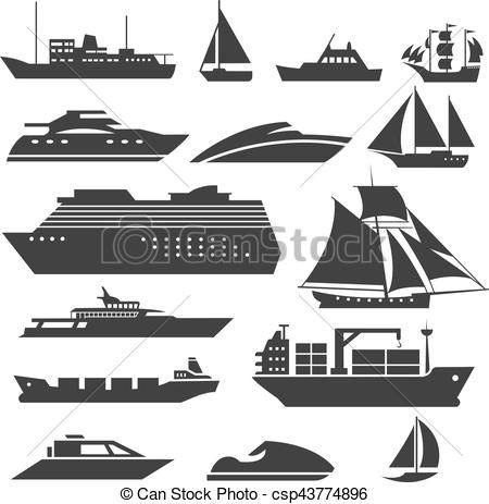 450x463 Ships And Boats Icons. Barge, Cruise Ship, Shipping Fishing Boat