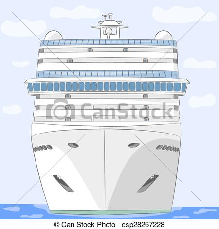 450x470 Vector. Cruise Ship. White Cruise Ship In The Ocean Background Of