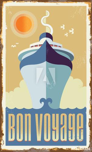 303x500 Vintage Retro Cruise Ship Vector Design