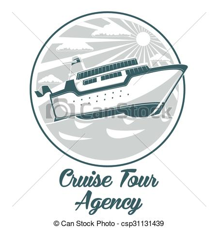 450x470 Cruise Tour Agency Logo Design With Liner Ship Vector Illustration.
