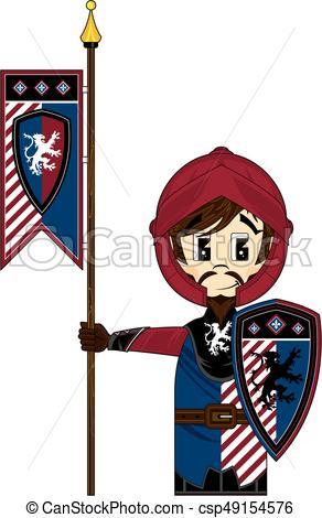 292x470 Crusader Banner Knight. Cute Cartoon Medieval Crusader Knight With