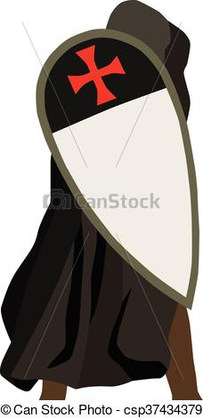 228x470 Crusader Soldier With Shield. Vector Illustration Of Crusader Soldier.