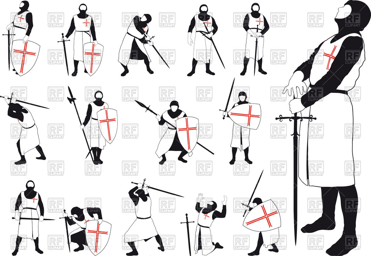 1200x828 Crusader With Various Weapons In Different Situations Vector Image