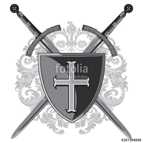 500x500 Knight Swords. Two Crossed Knight Of The Sword And Shield Of The