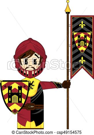 326x470 Medieval Crusader Banner Knight. Cute Cartoon Medieval Crusader