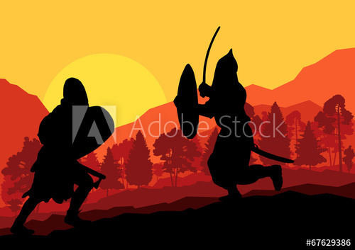 500x353 Medieval Warrior, Crusader Vector Background Landscape