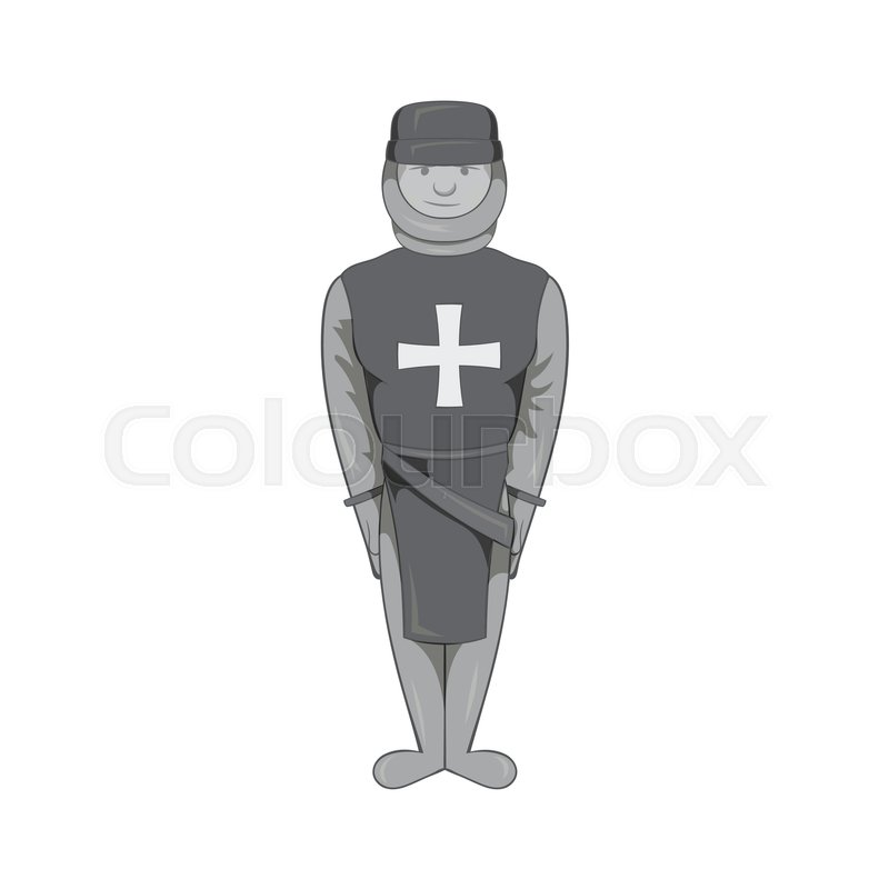 800x800 Warrior Crusader Icon In Black Monochrome Style Isolated On White
