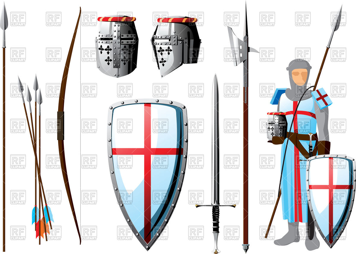 1200x855 Collection Of Weapons And Protective Equipment Crusader Vector