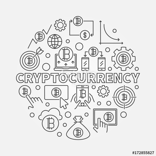 500x500 Cryptocurrency Round Outline Illustration. Vector Virtual Money