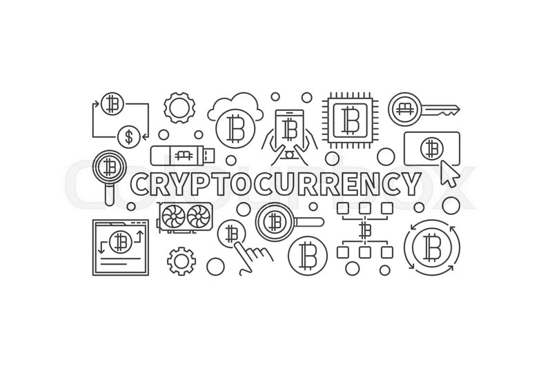 800x534 Cryptocurrency Vector Linear Illustration. Digital Money Concept