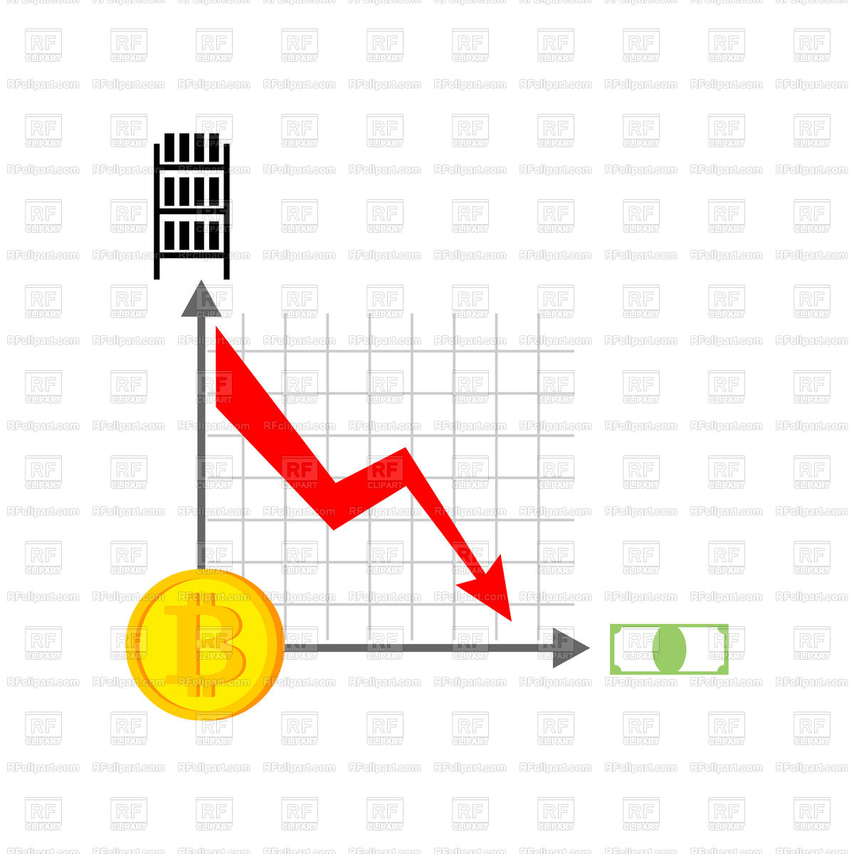 1200x1200 Falling Bitcoin Graph. Decrease In Cryptocurrency. Vector Image