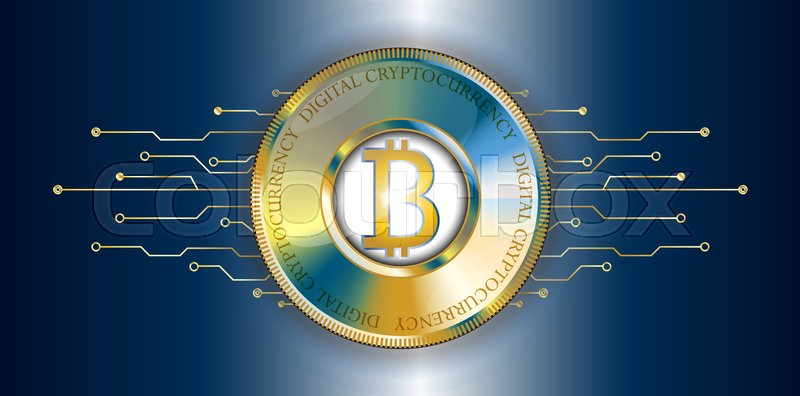 800x396 Golden Bitcoin Banner With Futuristic Technological Lines. Digital