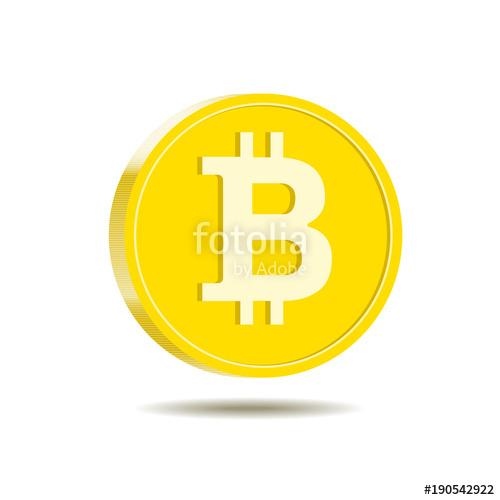 500x500 Golden Bitcoin Digital Cryptocurrency, Vector Illustration Stock