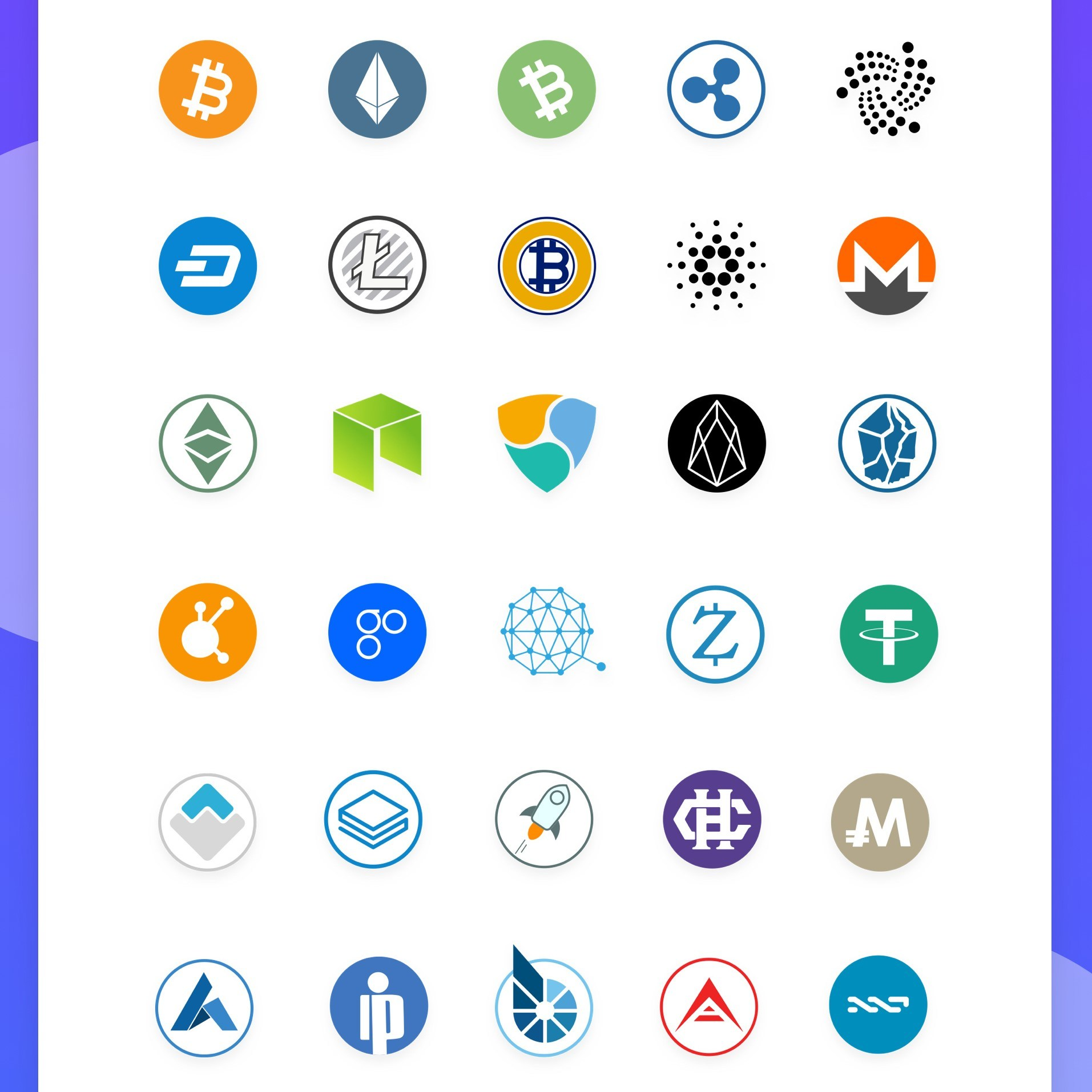 1913x1913 100 Free Cryptocurrency Vector Icons